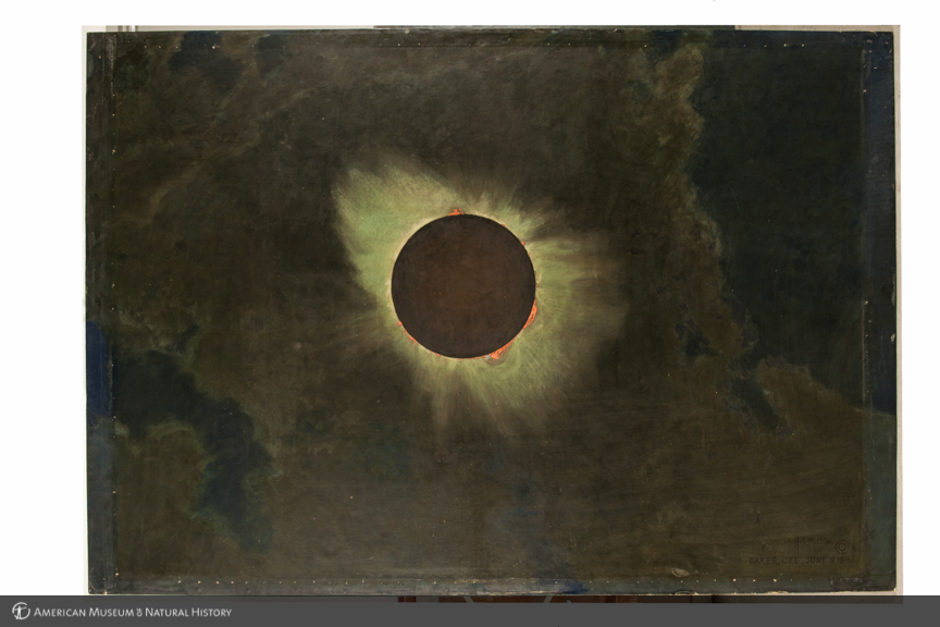 Solar eclipse as seen from Baker, Oregon, 1918, left panel in triptych, The three solar eclipses seen in the United States in 1918, 1923, and 1925, by Howard Russell Butler, 1925