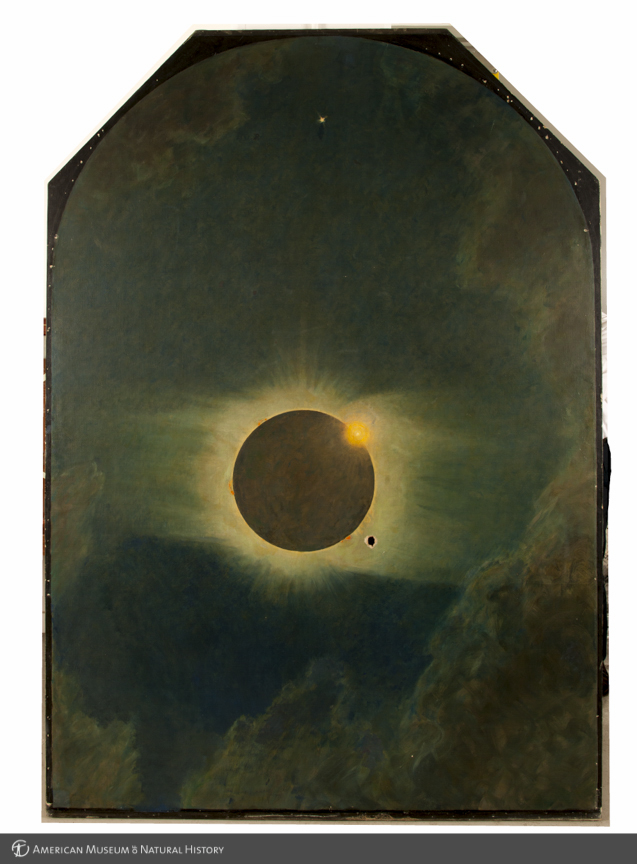Solar eclipse as seen from Lompoc, California, 1923, center panel in triptych, The three solar eclipses seen in the United States in 1918, 1923, and 1925, by Howard Russell Butler, 1925