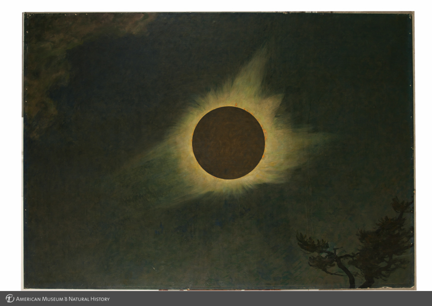 Solar eclipse as seen in Connecticut, 1925, right panel in triptych, The three solar eclipses seen in the United States in 1918, 1923, and 1925, by Howard Russell Butler, 1925