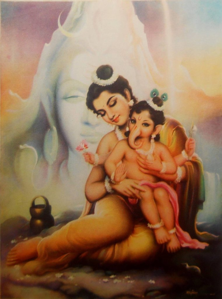 frame-image-of-goddess-parvati-and-little-lord-ganesha